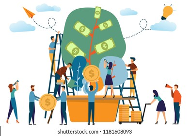 Business people and the plant of money concept. man and woman activities with tree of money and working. cartoon vector illustration.