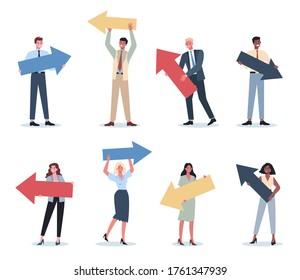 Business people pointing to something with big arrow set Female and male business worker smiling and showing something. Successful employee, achievement concept. Flat vector illustration