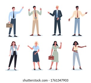 Business people pointing up something set. Female and male business worker smiling and showing something with gesture. Successful employee, achievement concept. Flat vector illustration