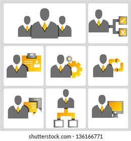 business people, profile, business management vector icon set, gold color set