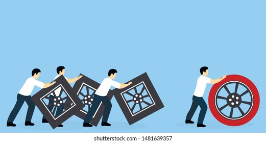 Business people push round and square wheels. The winner with a round wheel comes to the finish line first. Winning strategy, efficiency, innovation in business concept.
