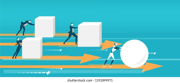 Business people pushing hard cubes. Robot easily moving the ball. Humans VS robots. Business concept illustration
