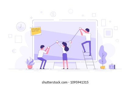 Business people are pushing up their graph upward. Teamwork. Business presentation. Flat vector illustration.
