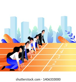 Business people race concept. Business people lined up getting ready for running on stadium sports track. Vector trendy flat illustration.