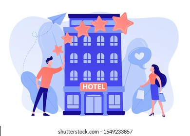 Business people with rating stars like the stylish boutique hotel. Boutique hotel, ultra-personalized service, high-end residential concept. Pinkish coral bluevector isolated illustration