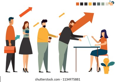 Business people registration concept. register with customer. online register vector concept illustration.