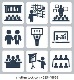 Business people related vector icons set