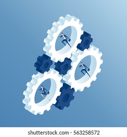 Business people run inside the gears and cause the mechanism to work. Businessmen running inside gear wheel, thereby rotating them isometric illustration. Business concept team and the system