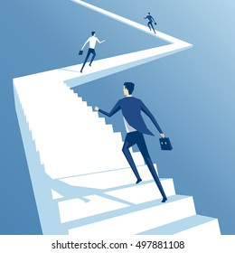 Business people run up the stairs, employees climb up the stairs, business concept competition and career growth