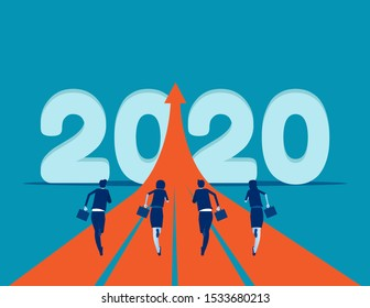 Business people running to 2020. Concept business success vector illustration. New year