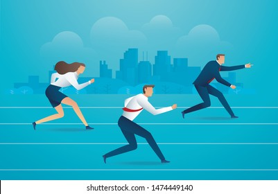 Business people running down the track. background vector illustration EPS10
