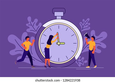Business People Running In Office. Mess And Deadline Tasks. Workload Disasters concept. Vector illustration