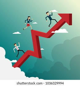 Business people running on arrow go path to goal, concept Vector illustration