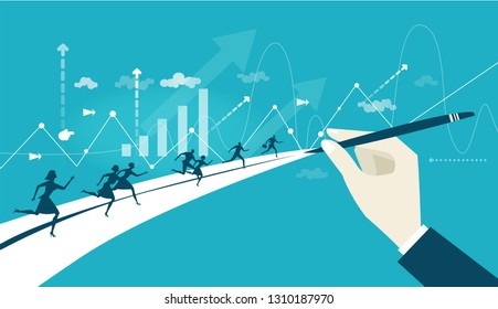 Business people running on the way to success. The hand pointing direction. Business concept illustration