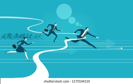 Business people running for the opportunity to get the better professional position, career, competing and challenging for success. Business concept illustration