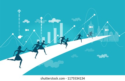 Business people running for the opportunity to get the better position in the City, career, competing and challenging for professional success. Business concept illustration