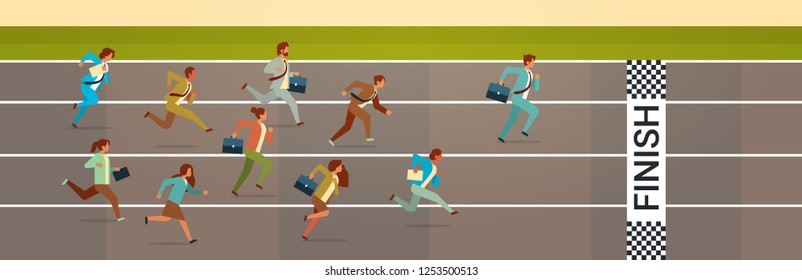 business people running sprint track competition concept flat horizontal