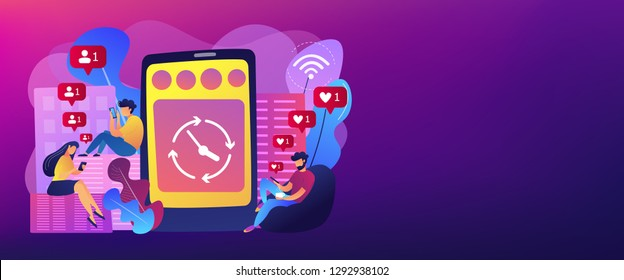 Business people scrolling through newsfeeds, smartphone with clock. Mindlessly scrolling, clicking on applications, social media addiction concept. Header or footer banner template with copy space.