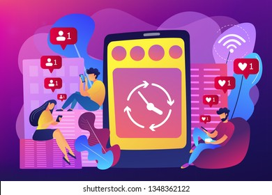 Business people scrolling through newsfeeds, smartphone with clock. Mindlessly scrolling, clicking on applications, social media addiction concept. Bright vibrant violet vector isolated illustration