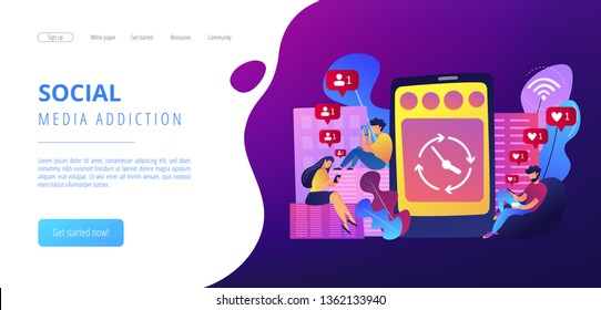 Business people scrolling through newsfeeds, smartphone with clock. Mindlessly scrolling, clicking on applications, social media addiction concept. Website vibrant violet landing web page template.