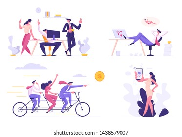 Business People Set. Creative Idea Teamwork, Cooperation Leadership, Mobile Banking App, Passive Income Dreams, Colleagues Characters Communicating Brainstorming, Cartoon Flat Vector Illustration