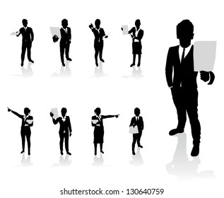 business people set holding up paper signs