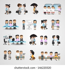 Business People Set - Isolated On Gray Background - Vector Illustration, Graphic Design Editable For Your Design