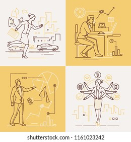 Business people - set of line design style illustrations on white and yellow background. Four images of a confident woman and man. Multitasking, time management, deadline, presentation concepts