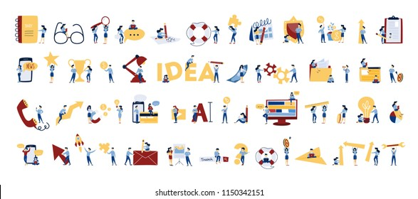 Business people set. Office characters work in team. Group of businessmen in suits in different poses with key, chess and light bulb. Isolated vector illustration in cartoon style - Shutterstock ID 1150342151