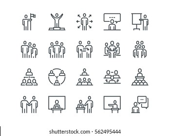 Business people. Set of outline vector icons. Contains such Icons as Business Meeting, Handshake, Agreement, One on One Meeting and more.