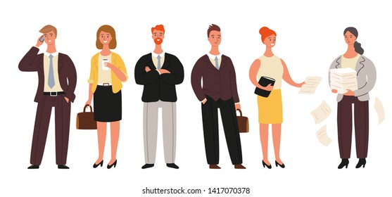 Business people set, standing businessmen and businesswomen collection isolated on white background. Group of cartoon office workers - vector illustration