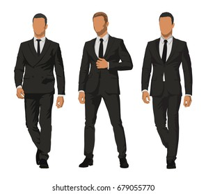 Business people, set of three characters in dark suits. Front view of businessmen, vector illustration