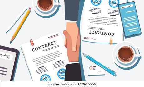 Geschäftsleute übergeben Papier und digital signiertes und gestempeltes Vertragsabschlussgeschäft. Nahaufnahme der oberen Ansicht von Handshake Partnership Agreement, Schreibtisch, Telefon, Tablet, Kaffee. Flache Vektorgrafik