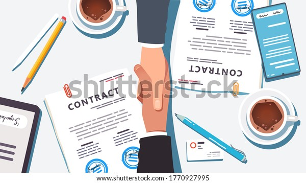 Business people shaking hands over paper and digital signed & stamped contract closing deal. Closeup top view of handshake partnership agreement, desk, phone, tablet, coffee. Flat vector illustration