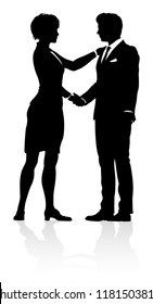 A business people shaking hands silhouette