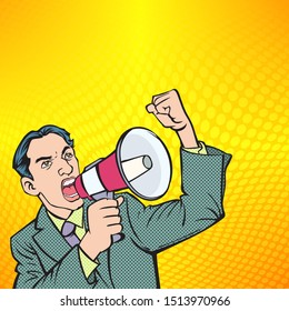 Business people shout loudly at the megaphone.Retro cartoon style illustrations.The image is separate from the background.