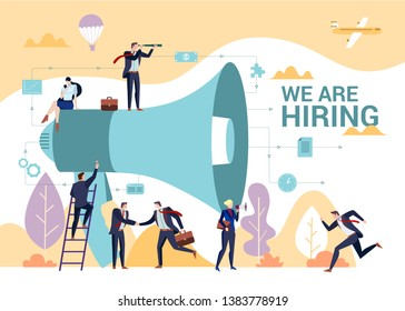 Business people shouting on megaphone with we are hiring word, flat style vector illustration concept.
