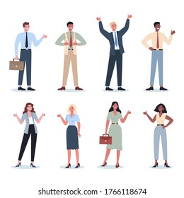 Business people showing a sign of OK. Female and male characters with agreement sign. Business worker smile with approval. Successful employee, achievement concept. Flat vector illustration