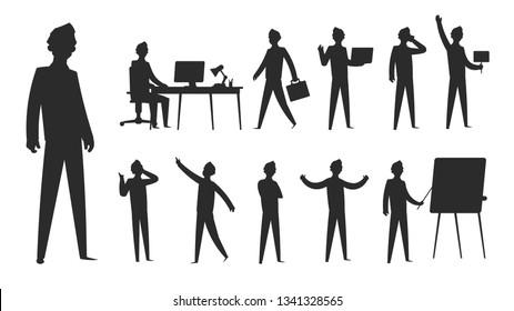 Business people silhouette. Businessman stand professional man figure office group team woman figure. Vector contour team silhouettes set