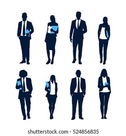 Business People Silhouette Set Businesspeople Group Hold Document Folders Human Resources Collection Vector Illustration