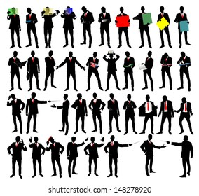 Business people silhouettes in different poses