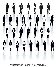 Business people silhouettes. Large set of black and white silhouettes with shadows. Businesspeople: men and women.