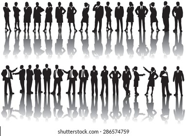 Business people silhouettesSilhouettes of men and women in corporate business attire.