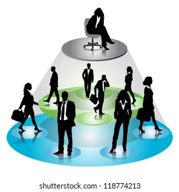 Business people silhouettes on hierarchy tree