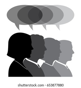 Business People Silhouettes With Speech Bubble. Profile View Vector Illustration.