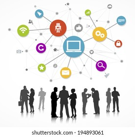 Business People Silhouettes Working and Network Concept