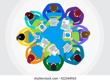 Business People Sitting Desk Globe Top View Global International Collaboration Flat Vector Illustration