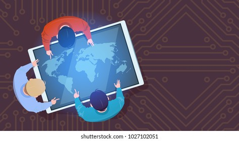 Business People Sitting At Digital Tablet With World Map Top Above View Flat Vector Illustration