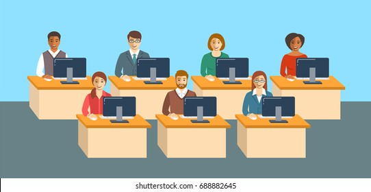Business people sitting at tables in an office. Men and women in business suits working together. Business team concept. Flat vector background. Horizontal banner. International company coworkers