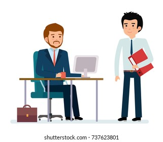 Business people and situations. The boss came by subordinate. Work at the computer. Flat style color modern vector illustration.
